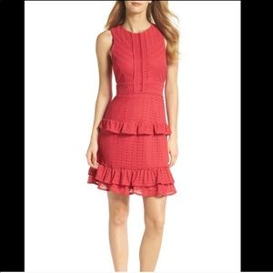 Chelsea28 Knit Ruffle Dress Pink Fit And Flare